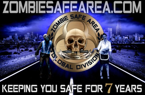 ZOMBIE SAFE AREA 7 years anniversary 2011 2018 poster blue version